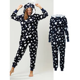 Flannel Heart Printed Front Zip Hoodie Onsie With Pocket