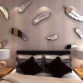 Silver Feather DIY 3D Mirror Wall Sticker Mural For Home And Bedroom Decoration