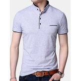 Mens Fashion Pure Color Short Sleeve Casual Tops
