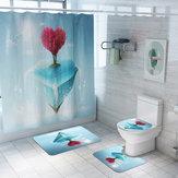 Honana 4PCS Banheiro Impermeável Cortina de chuveiro Pedestal Rug Toilet Seat Covers Tapete de banho Banheiro Decoração