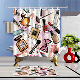 Fashion Cosmetic Waterproof Bathroom Shower Curtain Set With Hooks & Bath Mat Floor Mat