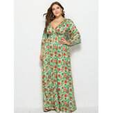 Plus Size Floral Print V-neck High Waist Holiday Maxi Dress