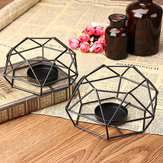 Metal Wire Candlestick Tea Light Candle Holder Tabletop Decor Industrial Lantern
