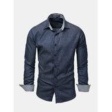 Men Polka Dot Turn-down Collar Long Sleeve Shirts