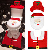 3pcs Christmas Xmas Decoration Santa Toilet Seat Cover + Rug Bathroom Mat Set Floor Mat