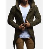 Moda para hombre con capucha rebeca suéter abrigo suéter medio largo