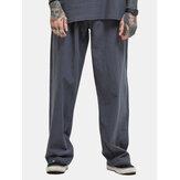 Mens Plus Size Casual Baggy Cotton Linen Striaght Pants Solid Color Loose Fit Wide Leg Pants