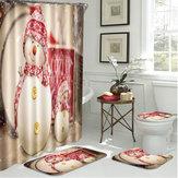 4шт Рождество Ванная комната Коврик с противоскользящим покрытием + крышка для унитаза Коврик для ванной + занавеска для душа