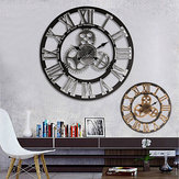 60cm 3D Retro Industrial Large Gear Wall Clock Rustic Wooden Luxury Art Vintage