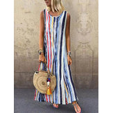 Multicolor Striped Sleeveless Dress