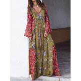 Bohemian Ethnic Floral Print Decote em V Long Maxi Dress For Women
