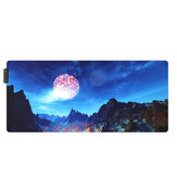 The Snow Mountain USB Wired RGB Colorful Backlit LED Mouse Pad for Gaming Mouse
