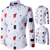 أزياء رجالي أبيض عارضة طباعة قميص مصمم كم طويل