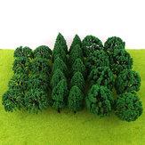 30/50ピースミニグリーンツリーアーキテクチャマイクロ風景風景鉄道モデルの装飾