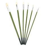 1 Conjunto Pintura Rod Verde Escova 6 Pcs Pincel Cabo Longo Cabelo Pintura de Cerdas Escovas Aquarela Óleo Materiais de Arte em Tinta Acrílica