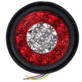 4Pcs 24V 16LEDs Coche Luces de señal de giro Lámparas de cola de parada de freno Impermeable Redondas para camión Camión remolque