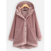 Plus Size Women Winter Patchwork Fleece Hooded Coats