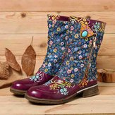 Women  Retro  Flowers Pattern Stitching  Zipper Flat Boots