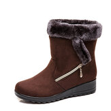 Women Suede Warm Lined  Wedges Winter Snow Boots