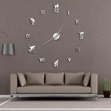 47 Inch 3D Gran pared Reloj DIY Gran decoración moderna sin marco para el hogar Gato Gran Reloj Espejo para dormitorio Sala de estar Gatitos Kitty Wall