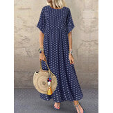 Polka Dot Print Short Sleeve Plus Size Maxi Dress with Pockets