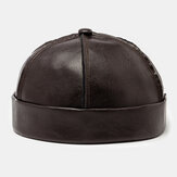 Men's Skull Caps Artificial Leather Hats Wave Caps Brimless Hats