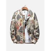 Ethnic Style Crane Embroidered Floral Baseball Jacket