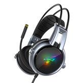 Somic E95-20 USB Virtual 7.1 para jogos fone de ouvido Soft vibração estéreo flexível com fio sobre Orelha fone de ouvido com microfone com luz RGB LED