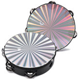 8 Inches Hand Held Tambourine Round Percussion Double Row Orff Instrument for Band Dancing Singing Accompaniment
