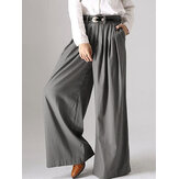 Women Solid Button Wide Leg Pocket Causal Pants