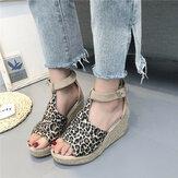 Kvinder Espadrilles Plus størrelse Åben tå spænde Sommerplatform kile sandaler