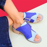 Mulheres Plus Tamanho cor costura casual sandálias de verão