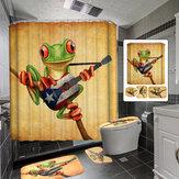 Frog Playing Guitar Ванная комната Занавеска для душа противоскольжения Коврик для ванной Коврик Крышка сиденья для унитаза Коврик для ванной Набо