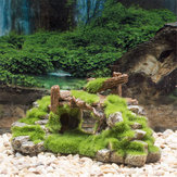 Aquarium Fish Tank Bridge Ornement Résine Moss Bridge Fish Play Cave Décorations
