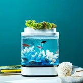 Geometria Mini Fish Tank USB Charging Self-Cleaning Aquarium with 7 Colors LED Light For Home Decorations From