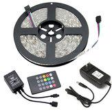 5 Mt DC12V RGB Wasserdichte Indoor Outdoor Musik LED Streifen Licht + 20 Tasten Fernbedienung + Netzteil