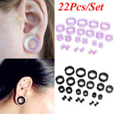 22Pcs Flexible Silicone Ear Flesh Tunnels Plugs Gauges Expander Stretching Kits Earring