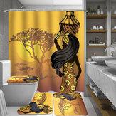 Afrikalı Kız Banyo Duş Perdesi Tuvalet Kapağı Mat Kaymaz Halı Seti 180x180 cm
