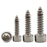 Suleve M2SH3 50Pcs M2 304 Stainless Steel Hex Socket Cylinder Cap Head Self Tapping Screw Wood Screws Speaker Screws Optional Length