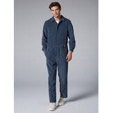 Mens Fashion Corduroy Pants Double Pockets Pore Color Casual Jumpsuit