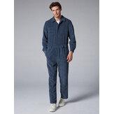 Mens Fashion Corduroy Pants Double Pockets Jumpsuit