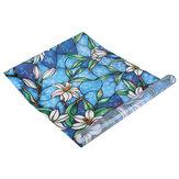45 * 100センチ3Dウィンドウ装飾蘭の花ステンドグラス窓フィルムステッカーDIY UVブロッキングフィルム