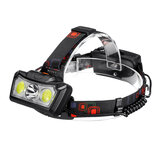 XANES® BT005 1300LM T6+2xCOB LED HeadLamp Waterproof 4 Modes Outdoor Running Camping Hiking Cycling Light 2x18650 DC Rechargeable Interface