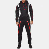Mens Sport Patchwork Thick Elastic Waist Casual Suit