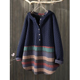 Vintage Jacquard Patch Print Button Long Sleeve Sweatshirts