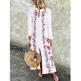 Bohemian Çiçek Gevşek Bölünmüş Hem Uzun Maxi Uzun Kollu Elbise