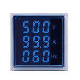 5pcs Geekcreit® 3 em 1 CA 60-500V 100A Quadrado Azul LED Amperímetro digital Amperímetro Hertz Meter Luzes de sinal Tensão Frequência atual Corrente combinada Indicador de medidor Tester Com CT redondo