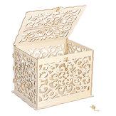 DIY Bauhinia Tarjeta de madera Boda Caja Boda Dinero Caja Regalo de madera Caso Oro cerradura Boda Fiesta de cumpleaños Aniversario Tallado a cielo abierto
