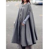 Womens Solid Winter Long Cape Cloak Casual Coats Robe Waistc