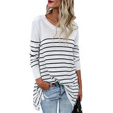 Women Long Sleeve Striped Loose Irregular Hem Blouse